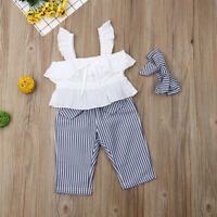 3pcs Newborn Toddler Infant Baby Girl Clothes T-shirt Tops+Long Pants Outfit Set