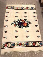 Antique wool hand loomed reversable bed Blanket W/fringe Aztec Pattern 79 X 53�