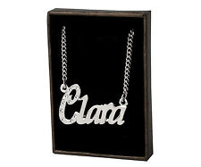 """Name Necklace """"CLARA"""" - 18ct White Gold Plated - Made With Swarovski Elements"""