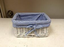 Wicker Storage Organizer Toy Mail Basket BLUE Gingham Check Liner 9x7x4.5