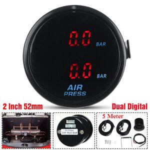 """2"""" Red LED Air Pressure Gauge Bar Dual Digital Display Air Ride Meter + Sensor"""