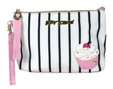 BETSEY JOHNSON CUPCAKE Large Wristlet Striped Black White Pink Pouch NEW