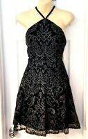Speechless Women Juniors Dress Size 11 Black Halter Style Strappy Silver Floral