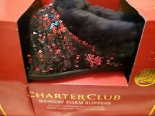 NEW Charter Club Women's Christmas Red/ Black Sequin Clog Slippers Sizes L