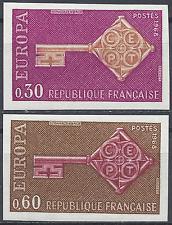 FRANCIA EUROPA Nº1556/1557 SELLO NO DENTADO IMPERF 1968 NEUF LUXE MNH