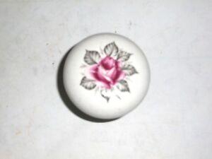 Antique White Porcelain Door Knob with Rose Image