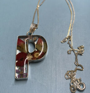 """Vintage 925 Silver Statement Flower Letter """"P"""" Pendant And 18 Inch Chain"""