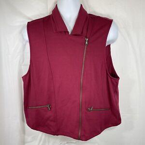 TORRID Women's Plus Size 3 Beet Red Moto Cropped Full Zip Up Vest NWT