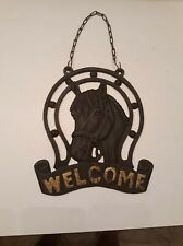 Vintage Cast Iron Horse & Lucky Horseshoe Welcome Sign