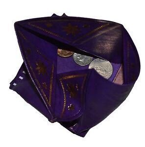 Moroccan Wallet Coin Genuine Leather Bi-fold Handmade Pocket Unisex XSl Purple
