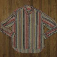 Tommy Bahama Relax Pink White Striped Linen Shirt Button Front Long Sleeve Large