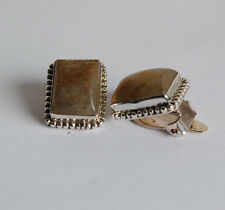 925 Silber Ohrclips mit Rutilquarz Edelsteinen, ohne Ohrloch tragbar, Rechteck