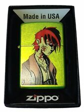 Zippo Custom Lighter Out For Blood Japanese Anime Tattoo Guy Lurid Green Matte