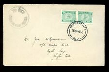 POSTAGE DUE NEW ZEALAND 1949 MIRAMAR to LYALL BAY 2 x 1/2d DOUBLE DEFICIENT