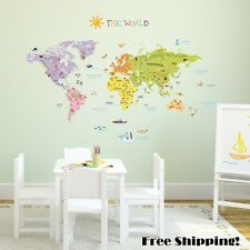 Wall Decal World Map Stickers Large Globe Decor Transfer Art For Kids Toddlers