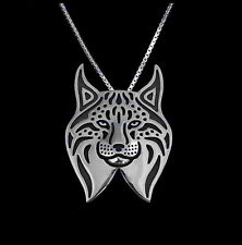Lynx Cat Silver Charm Pendant Necklace, Gifts for Her, Friend Gifts