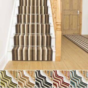 runrug Long Stair Carpet Runner Stripe Heavy Duty Washable Modern Broad