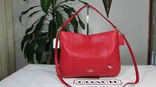NWT Coach Pebble Leather E/W Isabelle Shoulder Bag F35809 Classic Red
