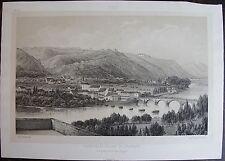 Victor PETIT : FAUBOURG ET VILLAGE DE JURANÇON. ORIGINALE DE 1850