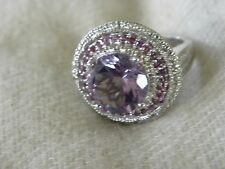 AMETHYST & STERLING SILVER RING SIZE 8