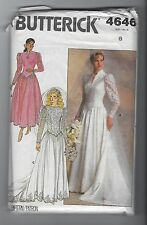 BUTTERICK 4646 MISSES WEDDING DRESS BRIDESMAID DRESS SEWING PATTERN SZ 8