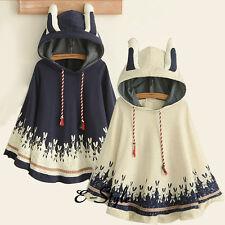 Ivory/Navy Cute Poncho Girl Sweet Coats Jacket Cardigan Blouse Rabbit Ear Cloak