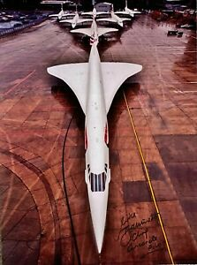 CONCORDE HAND SIGNED 16X12 PHOTOGRAPH OF ALL 7 CONCORDES TOGETHER SEVEN WONDERS