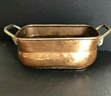 Vintage Small Solid Hammered Copper Brass Planter Box