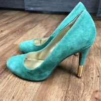 SEYCHELLES Emerald Green Suede MILES AWAY Gold Heel Women's Pumps Size 8.5 M