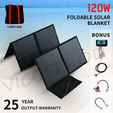 120W 12V Folding Solar Panel Kit Flexible Silicon Solar Blanket Camping 4WD