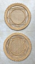 Mid-Century Modern Pair of Round Woven Raffia Wall Hangings, Sunburst/Square