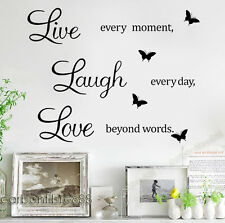 LIVE Laugh Love Muro Citazione Adesivi Farfalla Vinile Decalcomania Home Art Decor carta