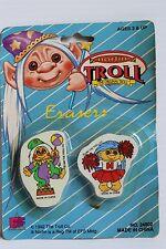 Troll erasers, Norfin troll erasers, vintage troll gift, school supplies, New