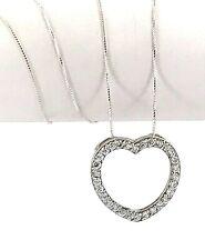 "Open Heart Cubic Zirconia Sterling Silver Pendant Necklace, 20"" Vintage"