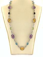 Multi Gemstone Station Necklace Link Chain oval Cut Bezel Set Sterling Silver