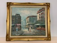Vintage Impressionist Paris Street Scene Oil on Canvas Signed Caroline Burnett