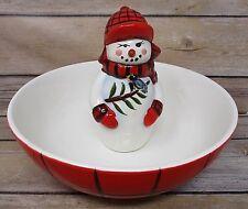 Christmas Snowman Candy Nut Dish Pfaltzgraff Camp Jingles
