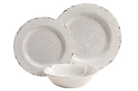 Melamine Break Resist Distressed Rustic Style Plate Bowl Off White Dish Set 12Pc