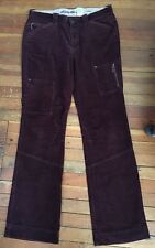 Eddie Bauer corduroy cargo pants womans size 12 tall Burgundy smoke free home