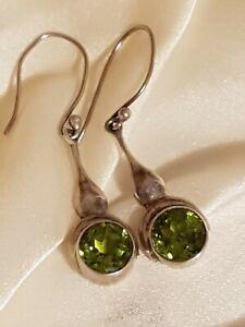 Vintage sterling silver and peridot faceted round stone earrings