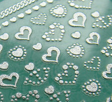 Nail Art 3D Sticker Metal like Silvertone Hearts and Anchor Chains 44+5 stickers