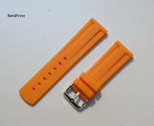 NEW 24mm Orange Rubber WATCH BAND, Two pcs and Solid buckle STRAP FITS ALL