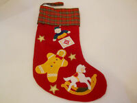 CHRISTMAS STOCKING sock holiday decor toys gingerbread man plaid red green