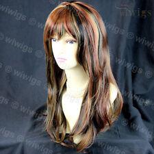 Wiwigs Long Wavy Blonde & Black & Red 3 Tone Heat Resistant Ladies Wig
