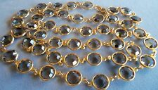 Vintage Long Topaz Bezel Set Swarovski Crystal Necklace  36 inches 1/2 inch cry