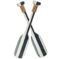 Twin Oar Wall Decor White & Blue Beach House Paddle Wall Sculpture Nautical