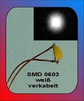 10 x SMD LED Bauart 0603 weiss white verkabelt Litze Kabel Kupferlackdraht
