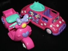 Mickey Mouse Figure Vehicle Lot Car & Scooter  Pink  --IIX