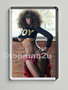 New, Quality Fridge Magnet, Sexy Glamour Model, Afro, Tiny Top, Big Boobs