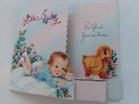 Vtg BABY w Honeycomb DUCK Moving Pull TOY Doehla CONGRATS GREETING CARD